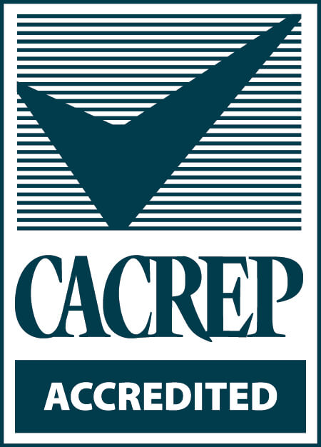 Council for Accreditation of Counseling and Related Education Programs (CACREP) accreditation stamp.